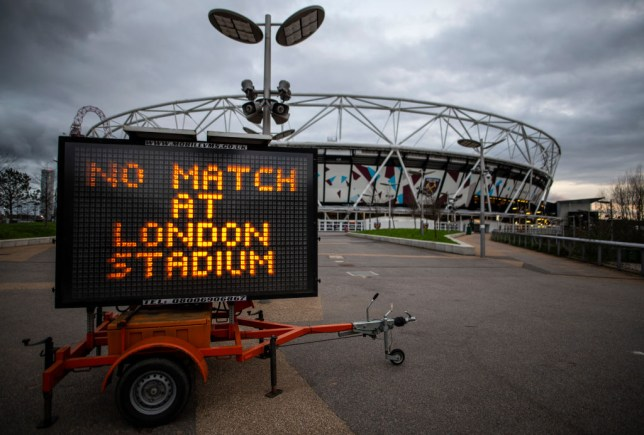 LONDON, ENGLAND - MARCH 14: LONDON, ENGLAND - MARCH 14: A General view of the London Stadium, home of West Ham United as all Premier League matches are postponed until at least April 4th due to the Coronavirus Covid-19 pandemic on March 14, 2020 in London, England.  It has been announced that all football league matches, including the Premier League and Women's Super League, have been postponed until at least April 4 in response to the threat of coronavirus. This follows UEFA's decision to suspend fixtures in the Champion's League and the Europa League, as many top flight players enter self-isolation.  (Photo by Justin Setterfield/Getty Images)