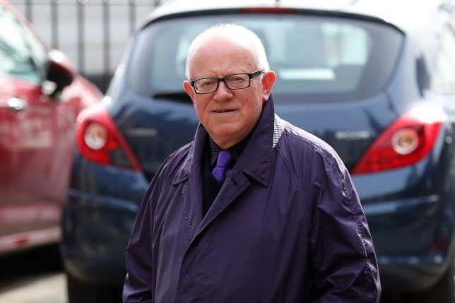 SALFORD, ENGLAND - OCTOBER 06:  Actor Ken Morley arrives at Salford Cathedral on October 6, 2017 in Salford, England. Actress Liz Dawn who died aged 77, played Vera Duckworth in Coronation Street for 34 years. She was  diagnosed with lung disease emphysema and was written out of the show in 2008 at her own request.  (Photo by Christopher Furlong/Getty Images)