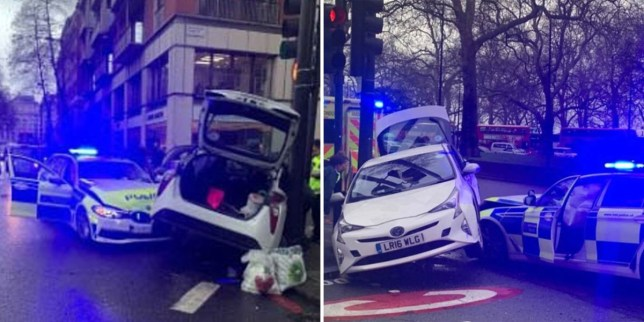 The marked police car ploughed into the side of white Toyota Prius on Saturday afternoon