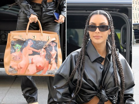 Kim Kardashian re-uses intense hand-painted Hermes Birkin bag Kanye West got her in 2013