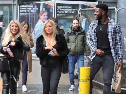 Love Island's Ched Uzor steps out with twins Jess and Eve Gale and they look more identical than ever