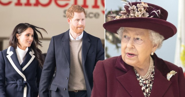 Prince Harry and Meghan Markle and the Queen
