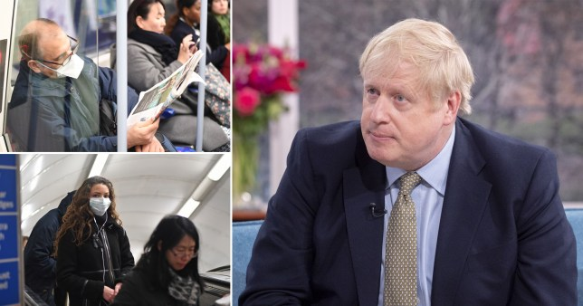 People wearing protective masks on London Underground and Prime Minister Boris Johnson