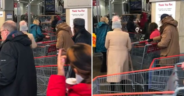 One customer filmed as Costco Croydon shoppers were sprayed on entry with disinfectant