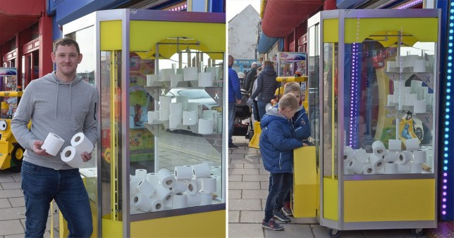 Composite of Eddy and a boy using the loo-roll grabber machine