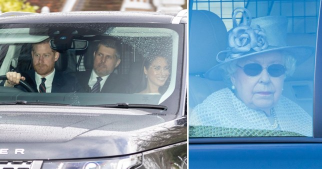 Meghan all smiles as she joins Queen for church service with Harry