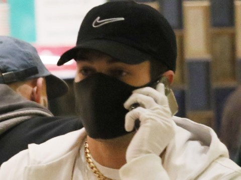 Joey Essex isn't taking any chances with coronavirus as he dons face mask and gloves to stock up on snacks