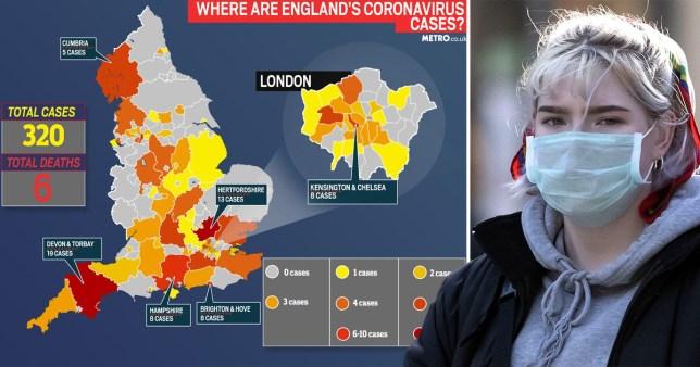 Coronavirus map of England