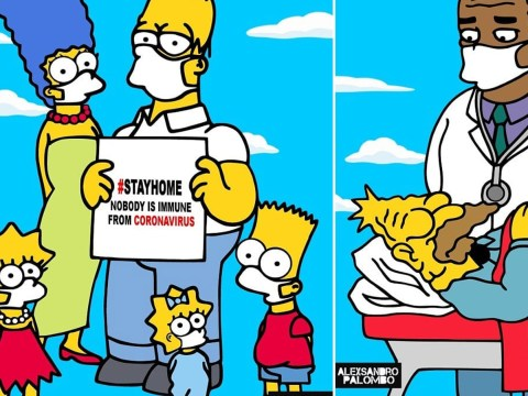 Italian artist enlists The Simpsons and the Royals to tell people to stay at home amid coronavirus