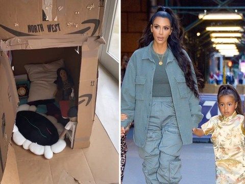 North West builds cardboard coronavirus 'quarantine house' for Kim Kardashian and Kanye West