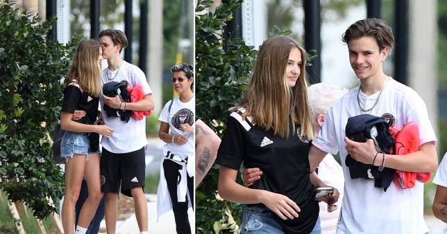 Romeo Beckham kisses girlfriend Mia Regan in Miami