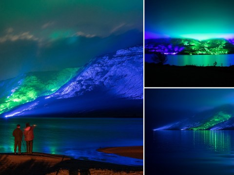 Artist lights up Ireland's Connemara mountains with stunning display to mark St Patrick's Day