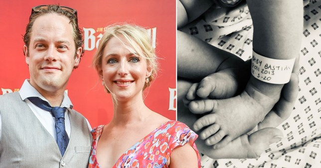 Ali Bastian and husband David O'Mahoney/picture of newborn daughter's feet