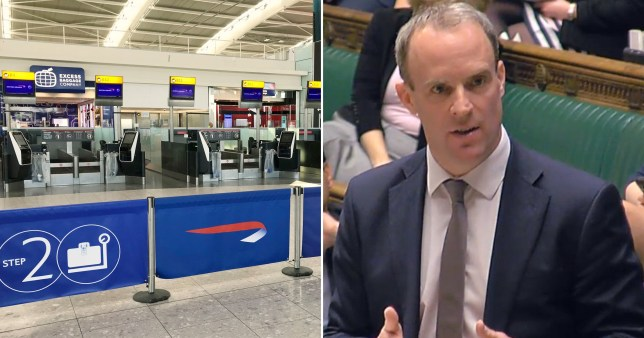 Dominic Raab said the FCO is advising aginst all but essential travel globally (Picture: BBC)
