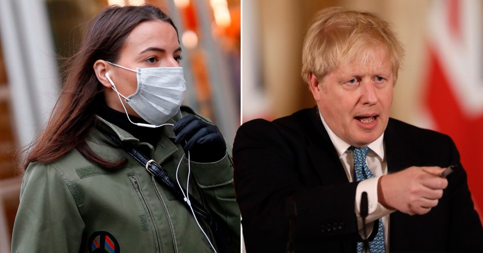Woman wearing protective face mask (left) and Prime Minister Boris Johnson (right)