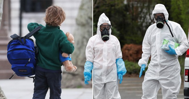 School pupil carrying bag and teddy (left) and workers in protective suits amid coronavirus outbreak