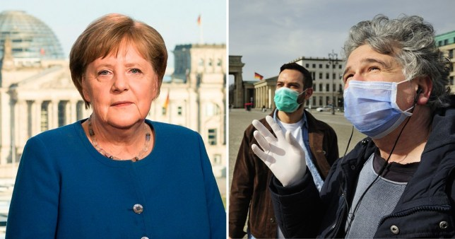 Angela Merkel (left) and people wearing protective face masks in Berlin, Germany (right)