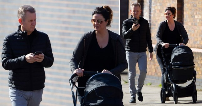 Jeremy Kyle walks in Windsor with fiancee Vicky Burton and their baby son