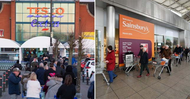 Tesco (left) and Sainsburys (right)