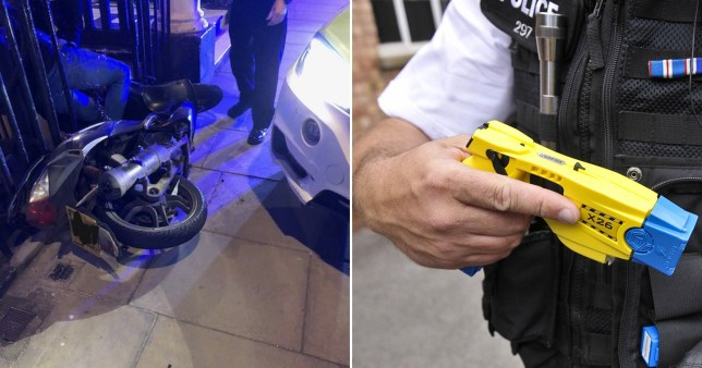 Crashed moped (left) and police officer holding Taser (right)