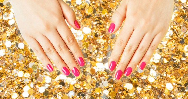 close up of nails on glittery background