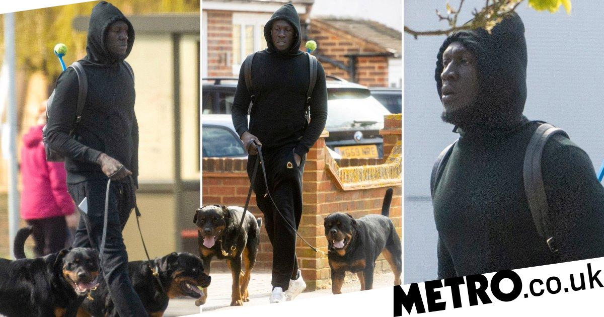 Stormzy emerges from quarantine to walk dogs in London