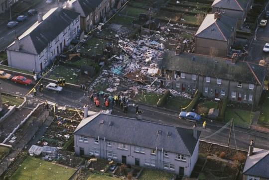 Wreckage of Pan Am flight 103 in Lockerbie