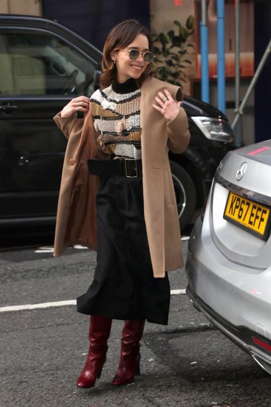 Emilia Clarke arriving at BBC Radio 2