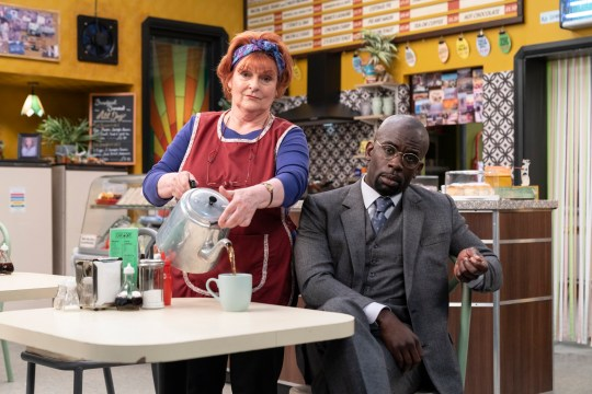 This image is strictly embargoed until 00.01 Tuesday 10th March 2020 From Hat Trick Productions Kate & Koji on ITV Pictured: Kate [Brenda Blethyn] and Koji [Jimmy Akingbola]. This photograph is (C) Hat Trick Productions/ITV Plc and can only be reproduced for editorial purposes directly in connection with the programme or event mentioned above, or ITV plc. Once made available by ITV plc Picture Desk, this photograph can be reproduced once only up until the transmission [TX] date and no reproduction fee will be charged. Any subsequent usage may incur a fee. This photograph must not be manipulated [excluding basic cropping] in a manner which alters the visual appearance of the person photographed deemed detrimental or inappropriate by ITV plc Picture Desk. This photograph must not be syndicated to any other company, publication or website, or permanently archived, without the express written permission of ITV Picture Desk. Full Terms and conditions are available on the website www.itv.com/presscentre/itvpictures/terms For further information please contact: james.hilder@itv.com / 0207 157 3052