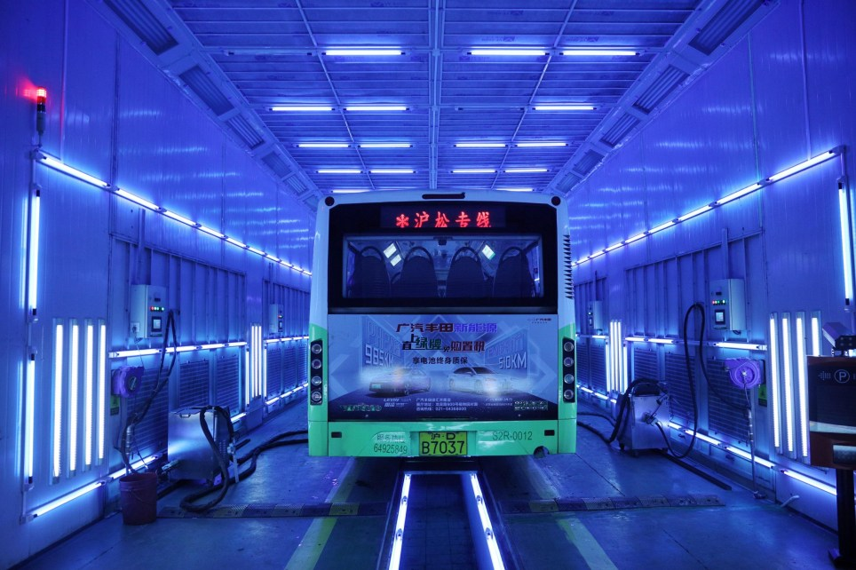 SHANGHAI, CHINA - MARCH 04: A bus is being disinfected by ultraviolet light on March 4, 2020 in Shanghai, China. According to the latest guideline on the diagnosis and treatment of the novel coronavirus released by the National Health Commission, the virus is sensitive to ultraviolet light and heat, so ultraviolet radiation can effectively eliminate the virus. (Photo by Zhang Hengwei/China News Service via Getty Images)