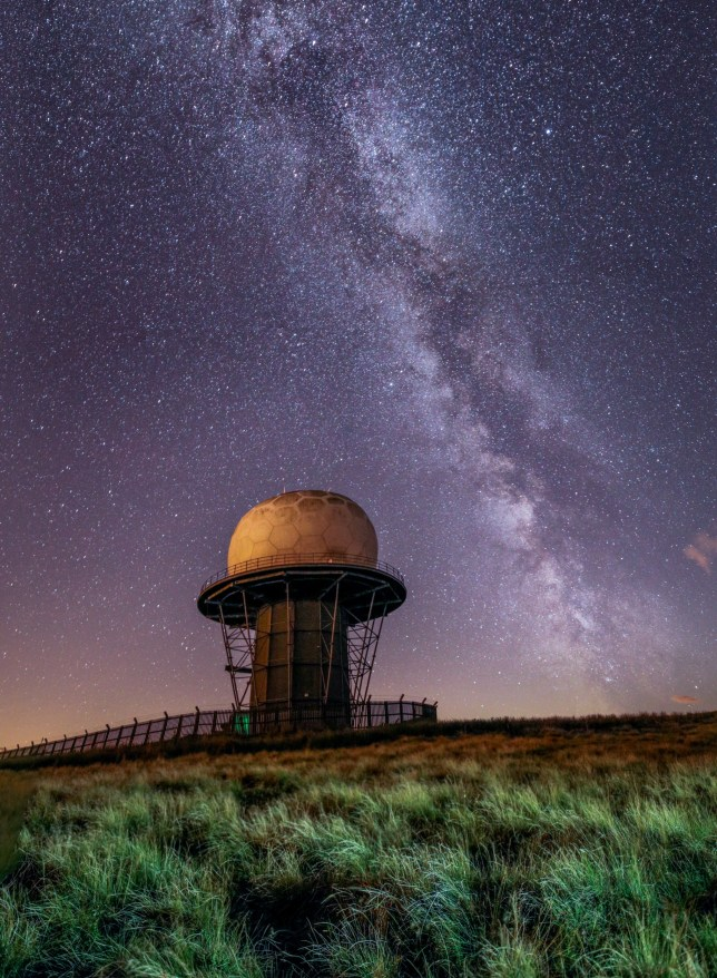 The milky way pictured from Clee Hill, Shropshire. A determined photographer took hundreds of pictures on a clear night to capture an astonishing time-lapse image of the North Star. See SWNS story SWMDstars. The images were taken over a 90-minute period and created a swirling pattern of Polaris above a radar station. Photographer Andrew Fusek-Peters camped out for three nights before he was able to take advantage of the perfectly clear night last Wednesday (26/2). He took the pictures on Titterstone Clee Hill, Shropshire near his home in Lydbury North. By laying over 100 pictures on top of one another, he was able to track the movement of the sky around Polaris.