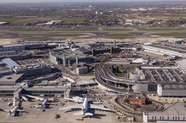 LONDON, UK - APR 20, 2016: Aerial view of the London Heathrow international airport. Hillingdon, England, United Kingdom.; Shutterstock ID 447112078; Purchase Order: -