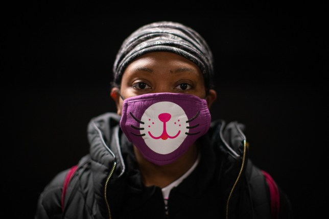 Kayla Stephenson, 23, poses for a portrait on the subway wearing a mask to protect against coronavirus in New York, United States. 05 March 2020. She says ???I???m scared im going to die, I???m pregnant, I???ve got a two year old at home.???