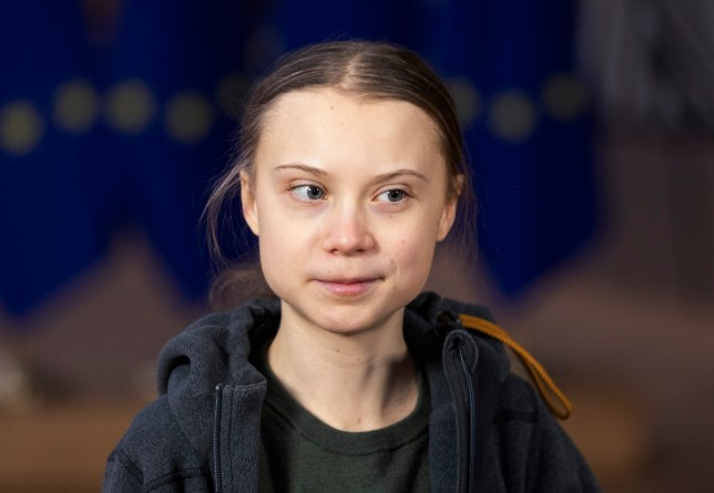 BRUSSELS, BELGIUM - MARCH 05: Swedish environmental activist on climate change Greta Thunberg is talking to media as she arrives for an EU environment Council at the Europa, the European Council headquarter, on March 5, 2020, in Brussels, Belgium. (Photo by Thierry Monasse/Getty Images)
