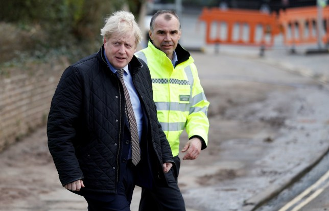 Prime Minister Boris Johnson visits Bewdley in Worcestershire to see recovery efforts following recent flooding in the Severn valley and across the UK. PA Photo. Picture date: Sunday March 8, 2020. See PA story POLITICS Flooding. Photo credit should read: PETER NICHOLLS/PA Wire
