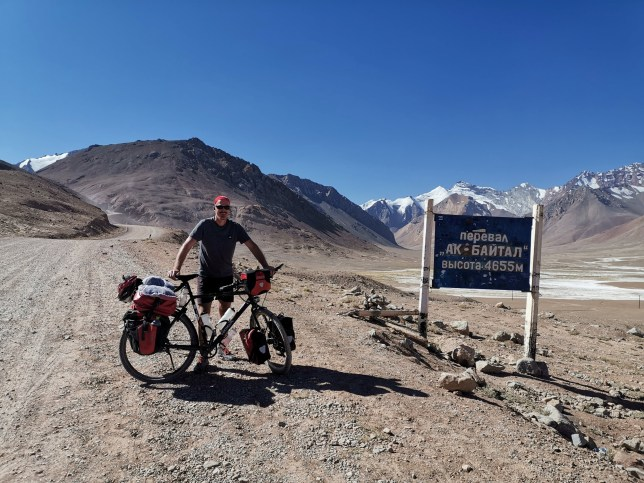 Ian Finlay, 52 who is cycling 28,000 miles around the world