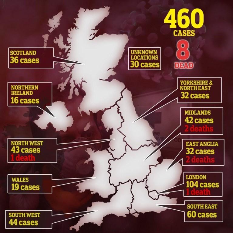 UK Coronavirus map regions