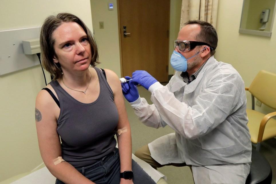 Photo of pharmacist injecting volunteer Jennifer Haller with first shot of potential coronavirus vaccine