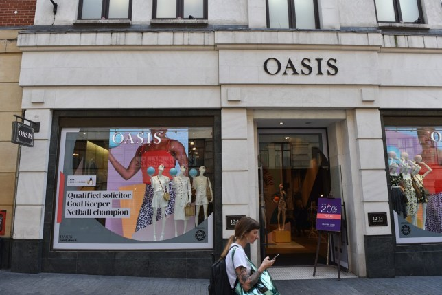 LONDON, ENGLAND- MAY 13: A general view of the Oasis fashion retail outlet in Argyll Street on May 13, 2019 in London, England. (Photo by John Keeble/Getty Images)