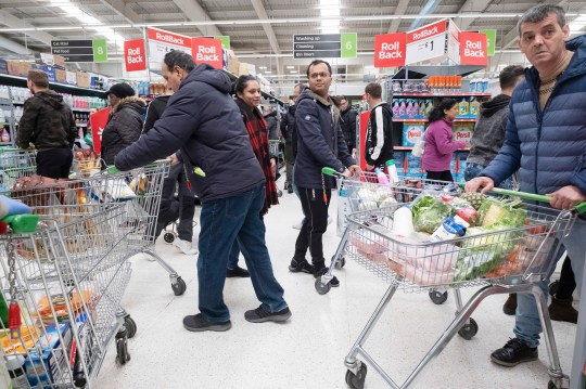 March 15, 2020, London, London, United Kingdom: 15 March 2020. London, United Kingdom..Shoppers at a supermarket panic buying items as the Coronavirus disease outbreak spreads across the UK. Household and food items such as pasta, toilet paper and cleaning products have been in short supply.. Photo by Ray Tang Media (Credit Image: ?? Ray Tang/ZUMA Wire)