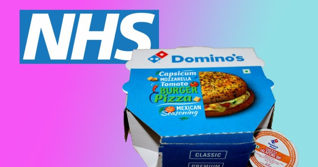 domino's box and nhs logo