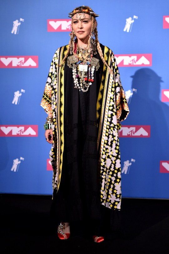 Mandatory Credit: Photo by Stephen Lovekin/REX (9793066ax) Madonna MTV Video Music Awards, Press Room, New York, USA - 20 Aug 2018 WEARING TEMPERLEY LONDON KIMONO