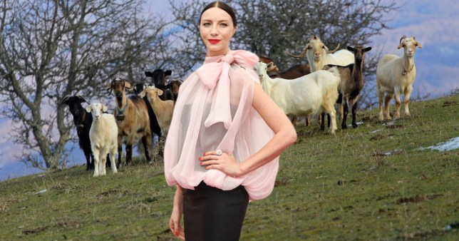 Outlander star Caitriona Balfe with goats behind her