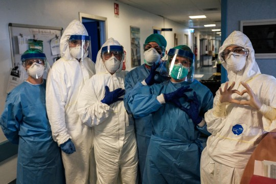 Nurses prepare for their shift at Cremona hospital in Milan