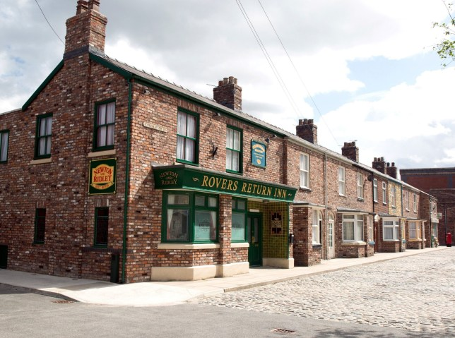 Editorial use only Mandatory Credit: Photo by ITV/REX/Shutterstock (9693305r) Exterior TV Set - Rovers Return pub and cobbled street 'Coronation Street' TV Series UK - 2018