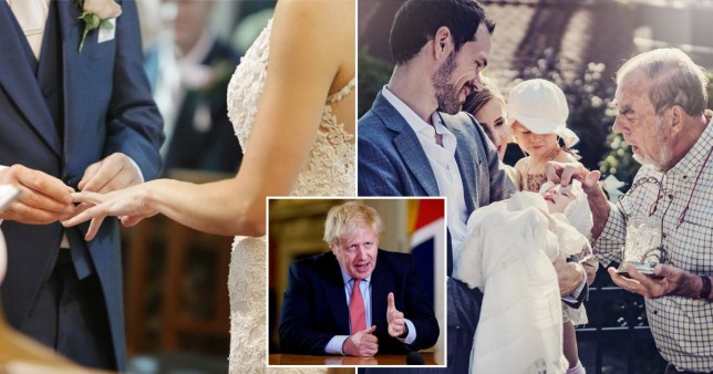 Weddings and christenings Johnson coronavirus announcement pics: Getty