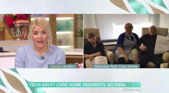 Mandatory Credit: Photo by ITV/REX (10592144x) Holly Willoughby and Dearnlea Park Care home residents 'This Morning' TV show, London, UK - 24 Mar 2020