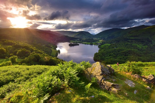 Grasmere from Loughrigg Terrace in the lake district at sunset.