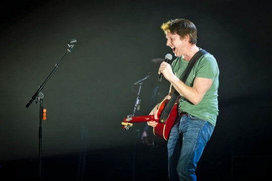 BERLIN, GERMANY - MARCH 09: British singer James Blunt performs live on stage during a concert at the Mercedes-Benz Arena on March 9, 2020 in Berlin, Germany. (Photo by Frank Hoensch/Redferns)