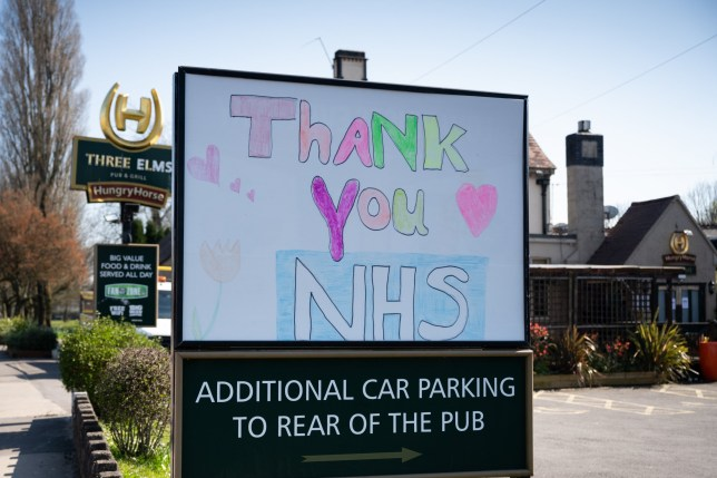 CARDIFF, WALES - MARCH 26: A sign praising the NHS at the Three Elms pub in Whitchurch on March 26, 2020, in Cardiff, Wales. The Coronavirus (COVID-19) pandemic has spread to many countries across the world, claiming over 20,000 lives and infecting hundreds of thousands more. (Photo by Matthew Horwood/Getty Images)